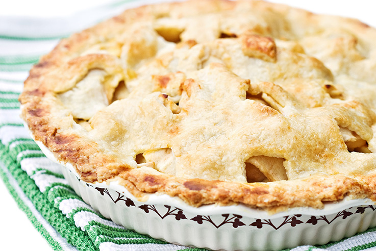 Fresh apple pie with a golden buttery crust